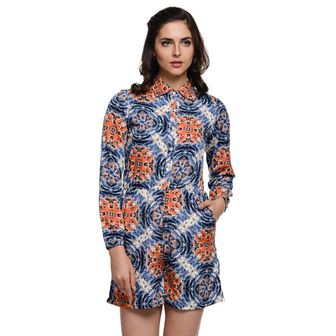 Graphic Print Blue Collar Romper