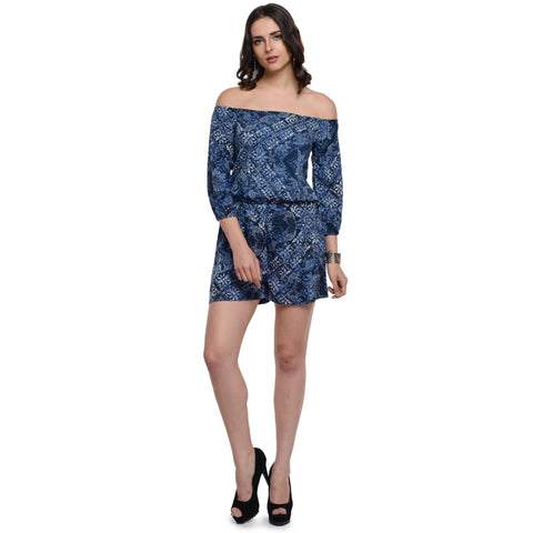 Printed Dark Blue  Romper