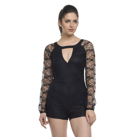 Solid Black Round Neck Playsuit