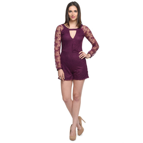 Solid Purple Round Neck Playsuit
