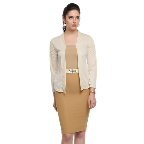 Waist length Beige Shrug