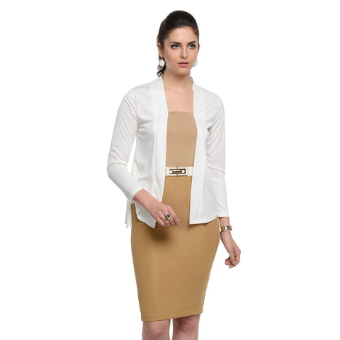 Waist length White Shrug