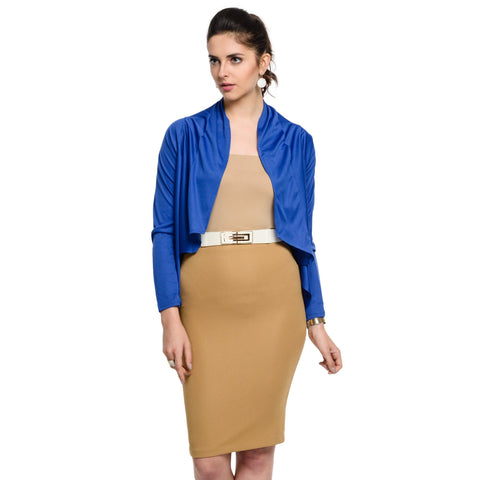 Waist length Polyester Blue Shrug