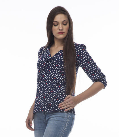 V-Neck Blue Half Sleeve Top