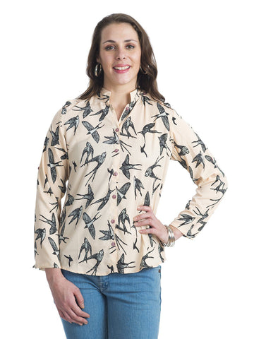 Mandarin Collar Beige Full Sleeve Top