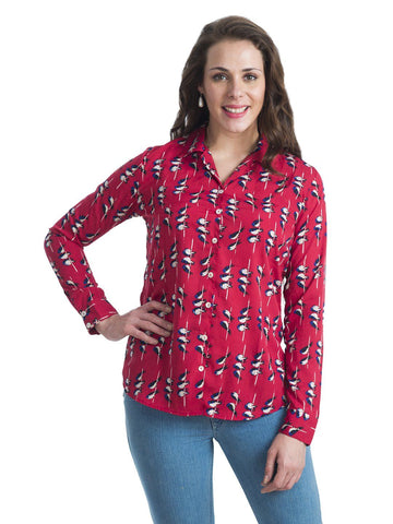 Mandarin Collar Red Full Sleeve Top