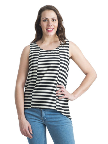 Black And White Round Neck Sleeveless Top