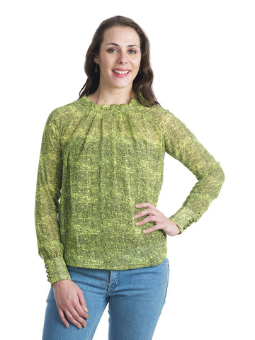 Round Neck Green Full Sleeve Top