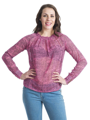 Round Neck Pink Full Sleeve Top