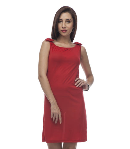 Simple Sheath Red Polyester Dress