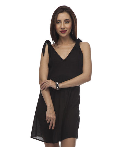 Fit and Flare Black Polyester Dress