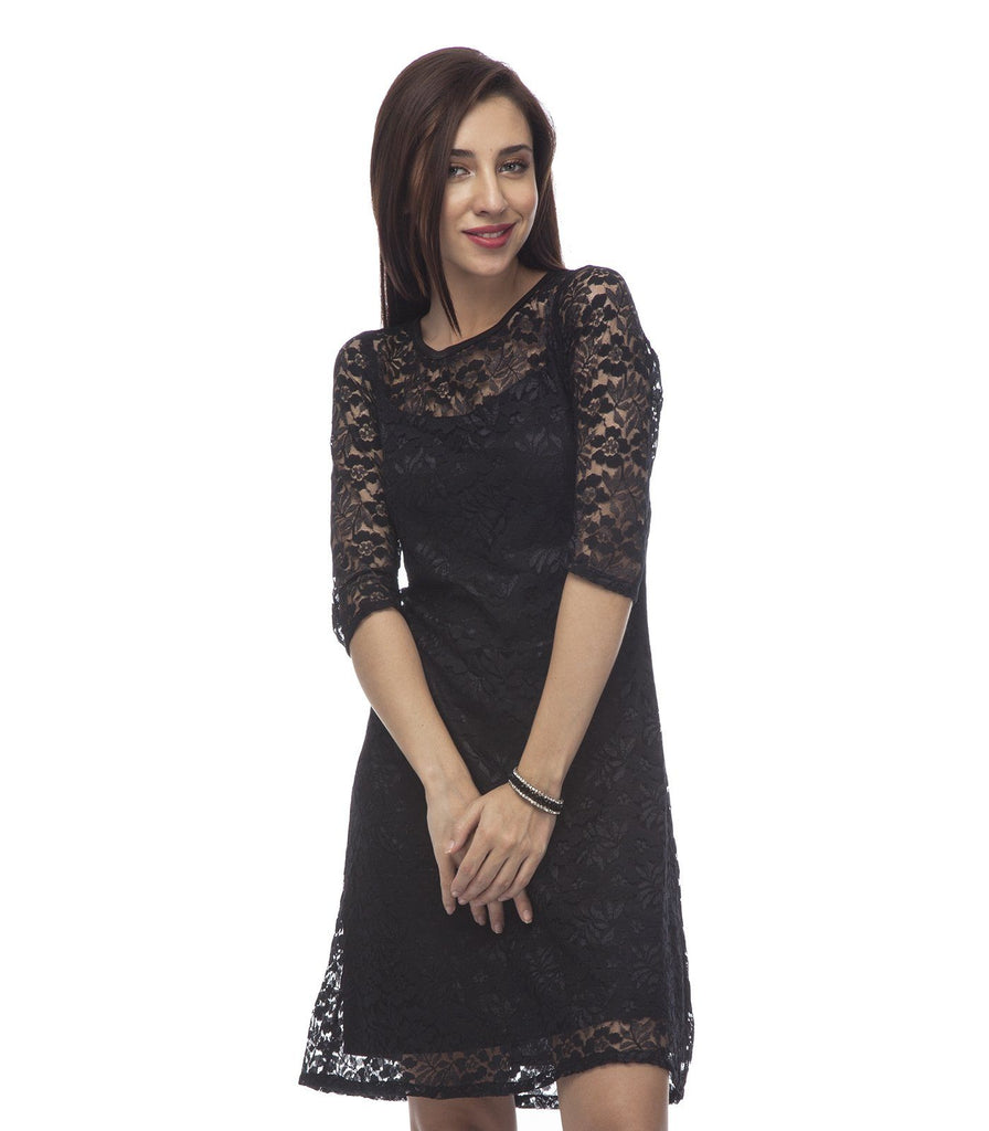 Fit and Flare  Lace Black Polyester Dress