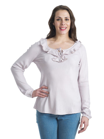 Round Neck Baby Pink Full Sleeve Top
