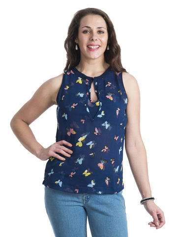 Round Neck Printed Blue Sleeveless Top