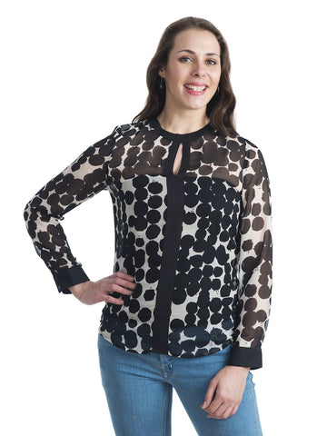 Round Neck Black And White Full Sleeve Top