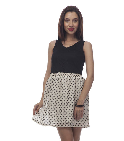 Fit and Flare Black and White Polka Dot Dress