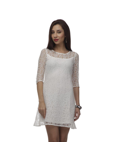 Shift White Lace Polyester Dress