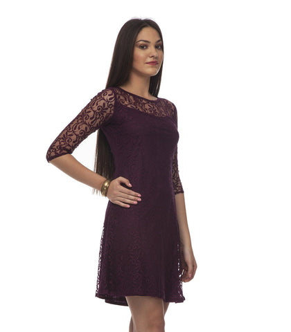 Shift Wine Polyester Dress