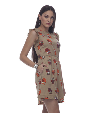 A Line Beige Polyester Dress