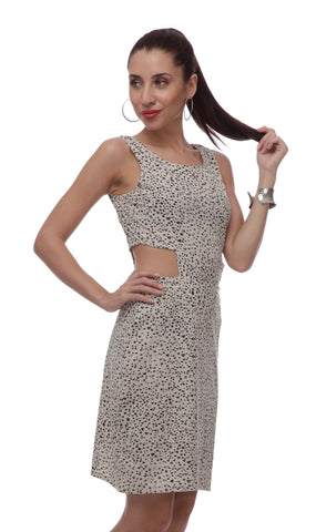 Sheath Black and White Polyester Dress