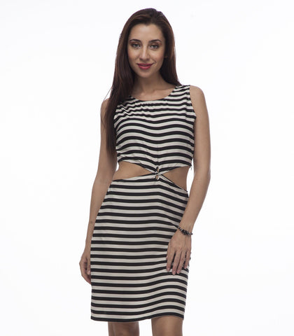 Sheath Monochrome Polyester Dress