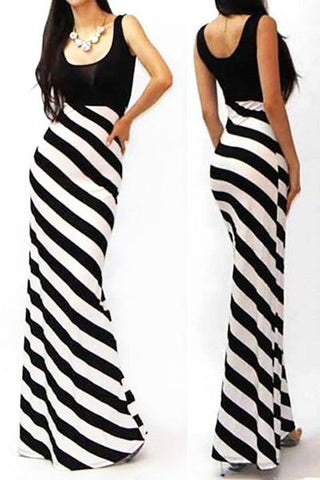 Fish Cut Striped Long Dress
