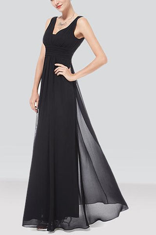 V-Neck Black Smoke Long Dress