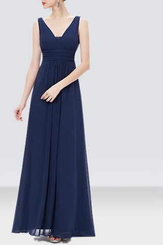 Navy Blue Long Net Dress