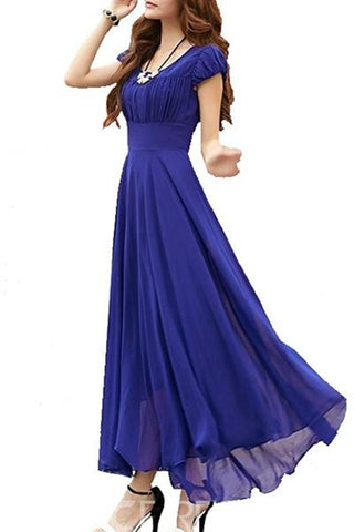 Royal Blue Cape-Sleeve Long Dress