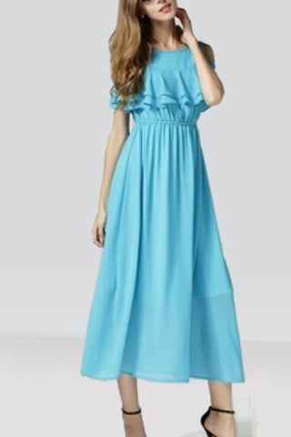 Sky Blue Cold Shoulder Long Dress