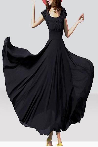 Cape Sleeve Black Frilled Dress