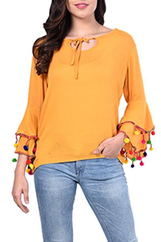 Pom-Pom Bell-Sleeve Tied-Up Top
