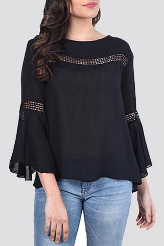 Bell Sleeves Lace Rayon Top