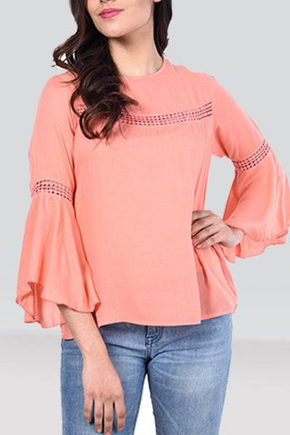Peach Rayon Bell-Sleeve Top