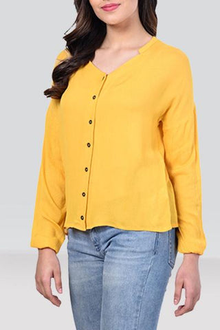 Buttoned Plain Mustard Top