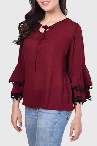 Stylish Bell-Sleeve Tied-Up Top