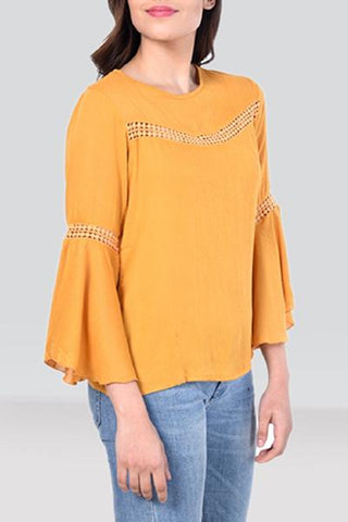 Lacy Bell-Sleeve Lush Top