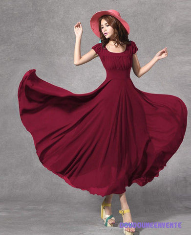 Maroon long dress with cape sleeves