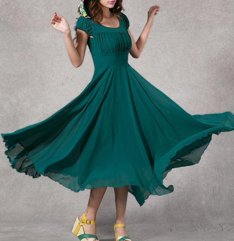 Rama Green Long Dress With Cape Sleeves