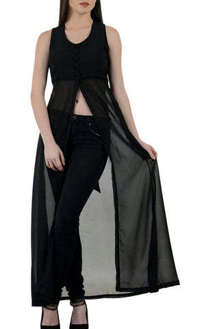 Mid Slit Black Long Top