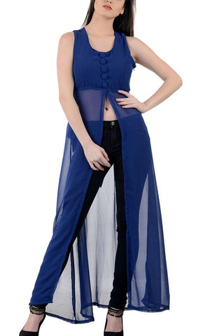 Royal Blue Long Dress With Front Slit