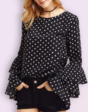Smoky Black Polka Dot Ruffled Top With Full Sleeves