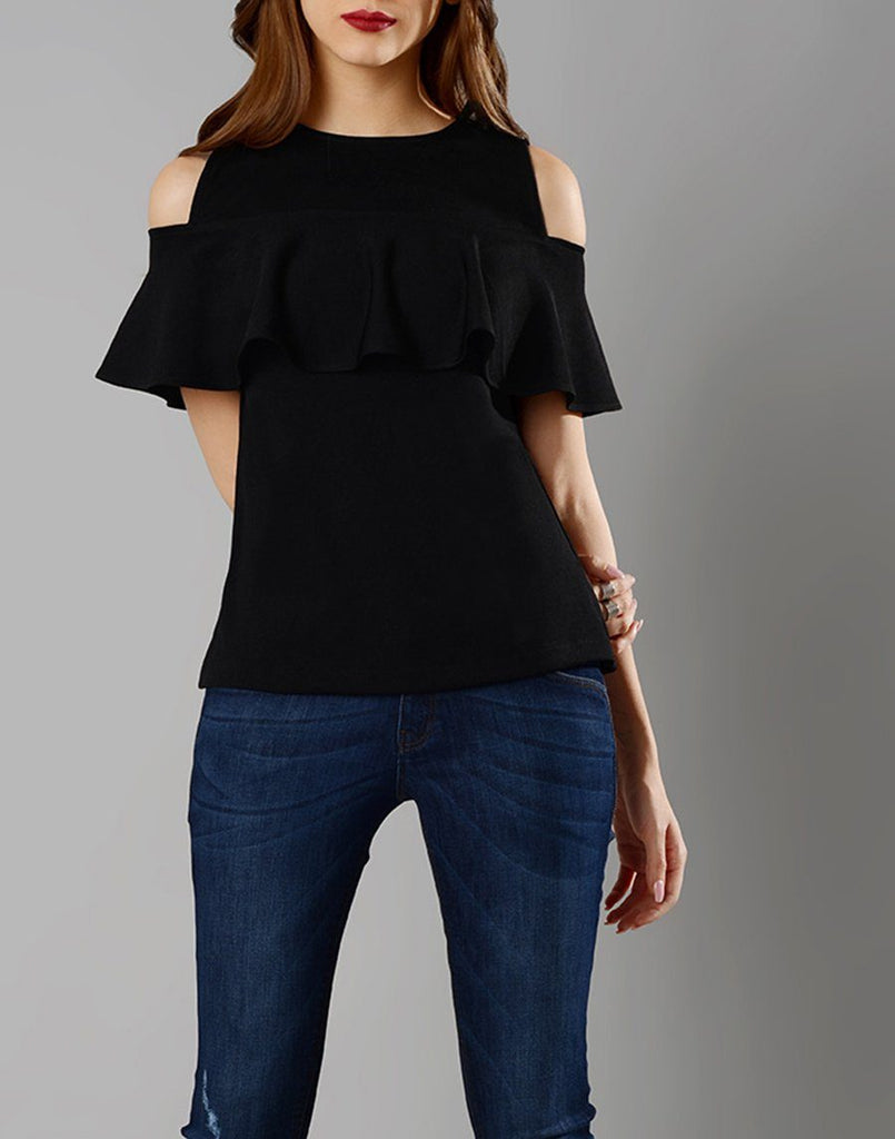 Black Cold Shoulder Top with frill sleeves