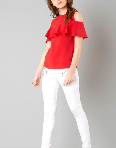 Red Cold Shoulder Top with frill sleeves
