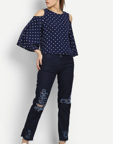 Navy With White Dott Cold Shoulder Top