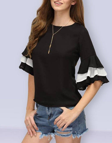 Black And White Bell Sleeves Top