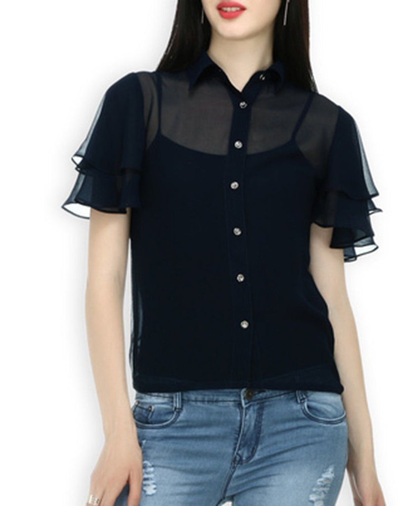 Black Ggt Top With Frill Sleeves