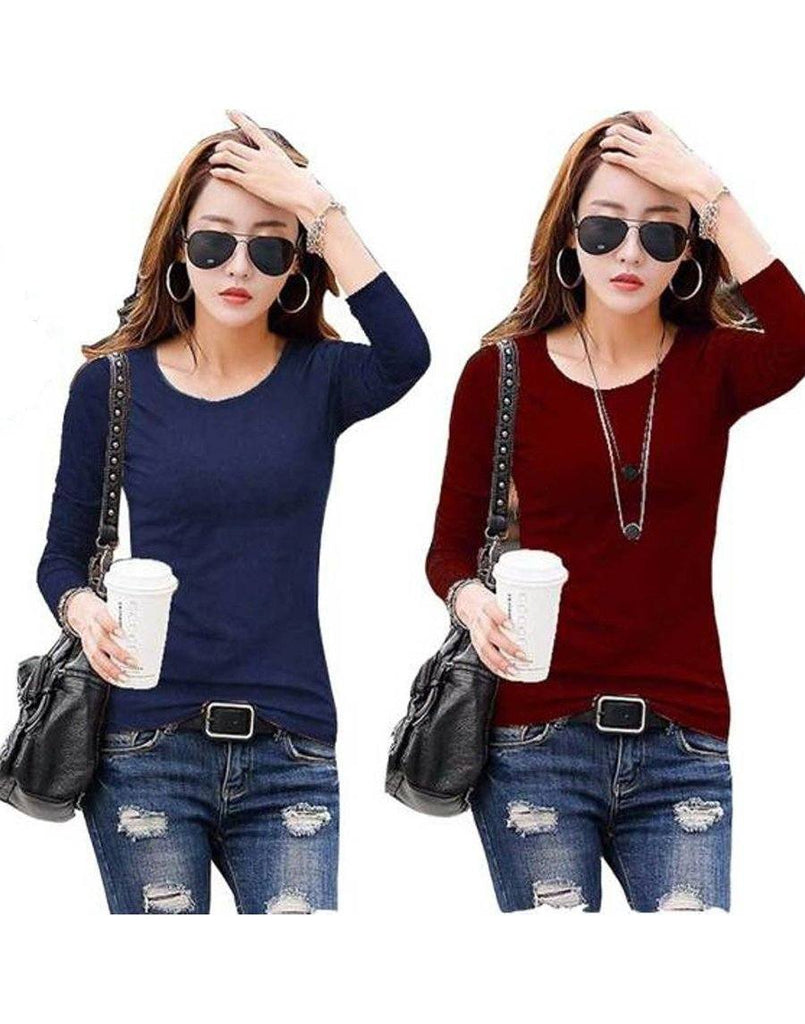 Navy   And  Maroon Cotton T-shirt