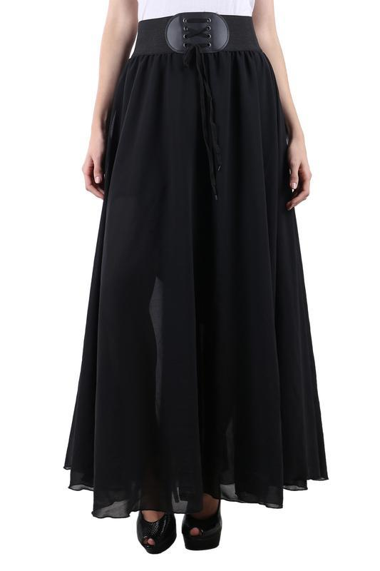 Raabta BLack Long Skirt With Belt
