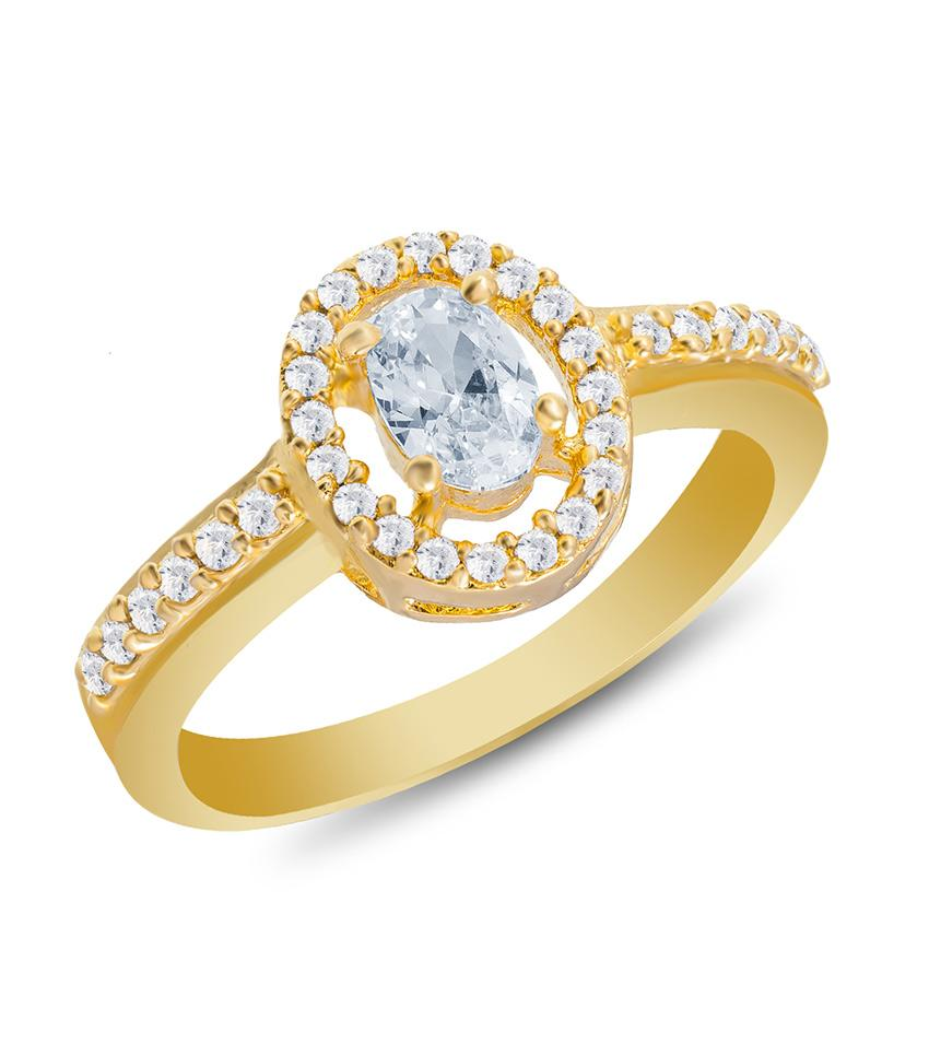 Aadita Designer Wedding Engagement American Diamond Shiny Rings for Women and Girls